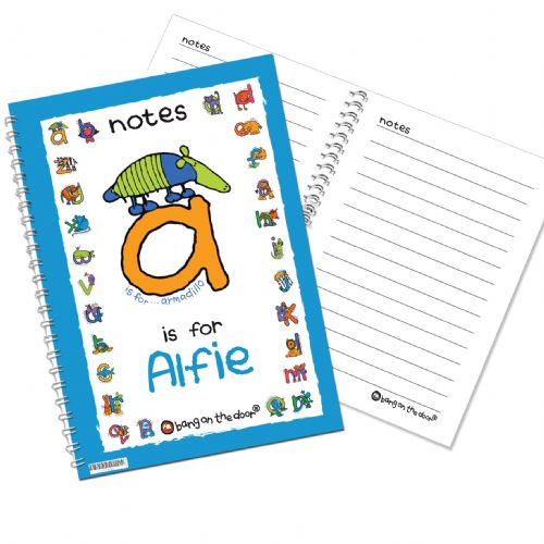 Personalised Bang On The Door Animal Alphabet Boys Notebook